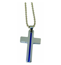 Blue Line Cross Necklace- Large