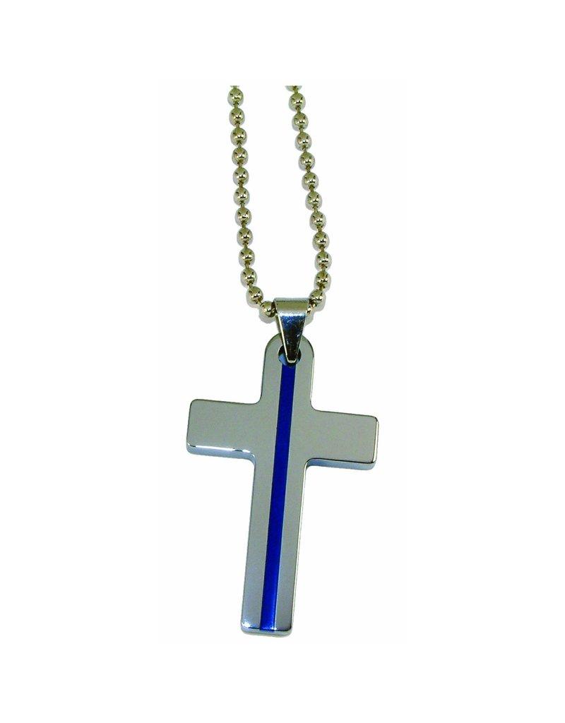 Blue Line Cross Necklace- Large