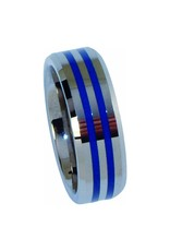 Double Blue Line Ring