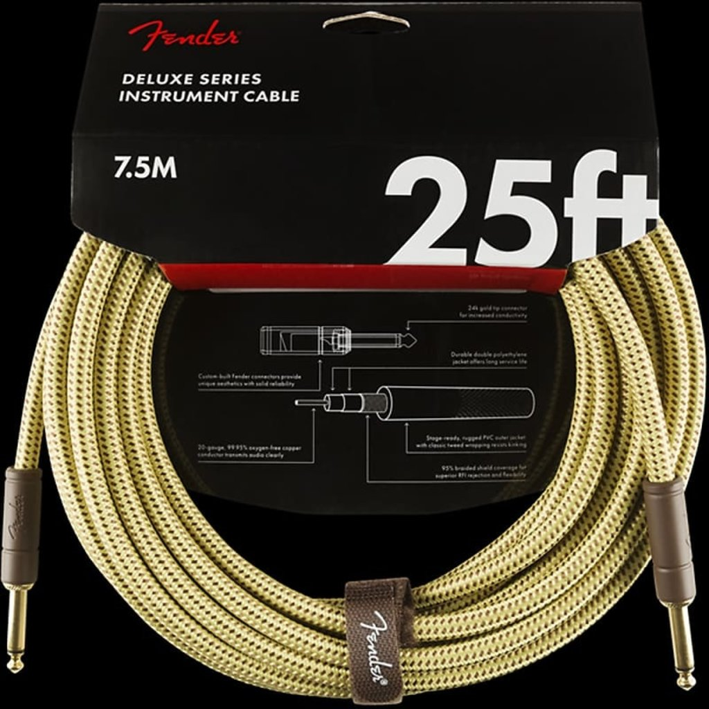 Fender Fender 25' Deluxe Series Instrument Cable Tweed