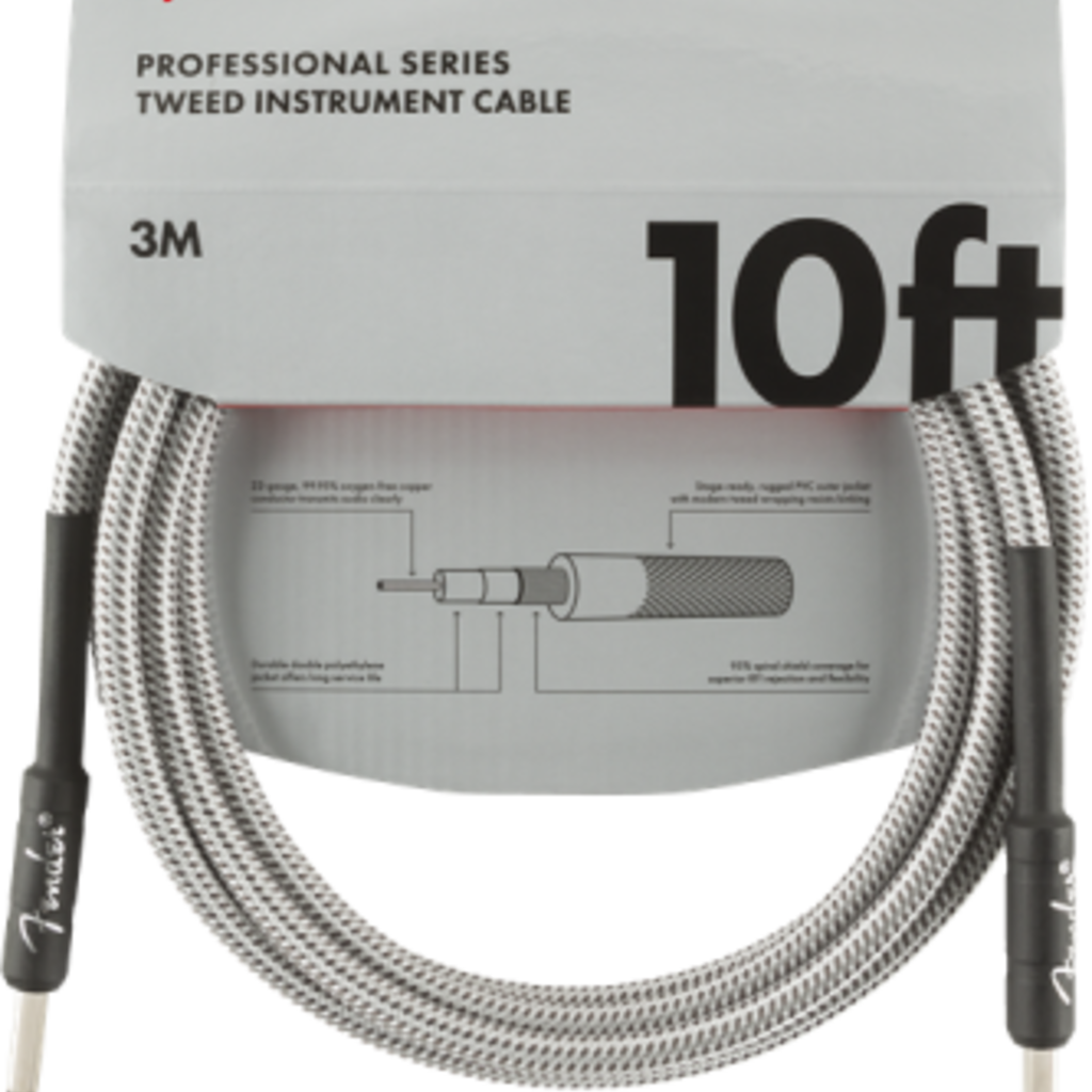 Fender Fender 10' Pro Instrument Cable White Tweed