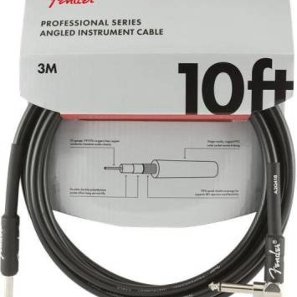 Fender Fender 10' Pro Instrument Cable Black Straight/Angle