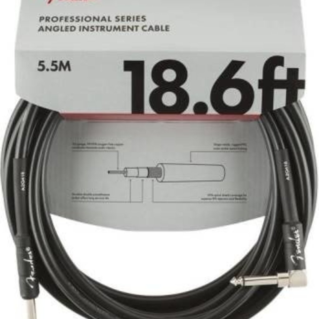 Fender Fender 18.6' Pro Instrument Cable Black  Straight/Angle