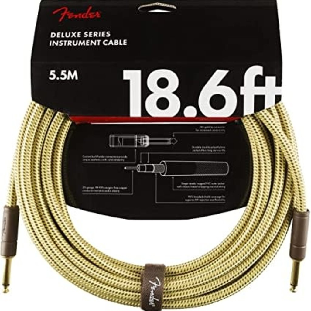 Fender Fender 18.6' Deluxe Series Instrument Cable Tweed