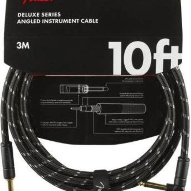 Fender Fender 10' Deluxe Instrument Cable Black Tweed  Straight/Angle