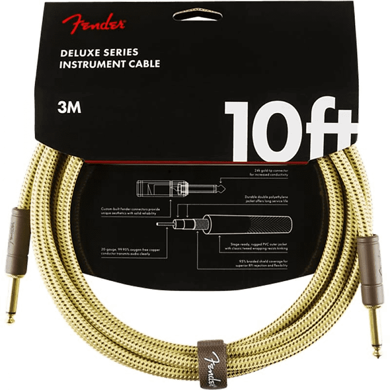 Fender Fender 10' Deluxe Instrument Cable Tweed Straight