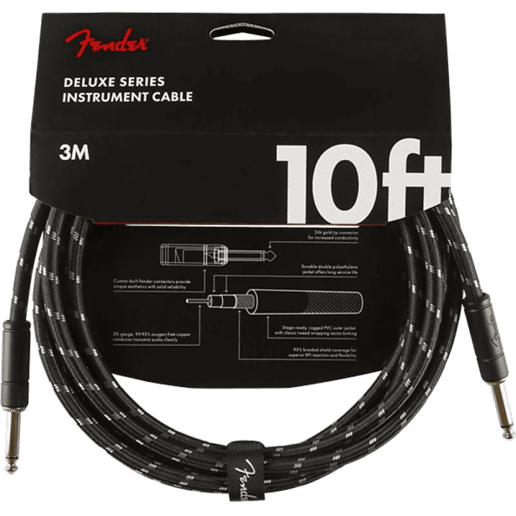 Fender Fender 10' Deluxe Instrument Cable Black Tweed  Straight/Straight