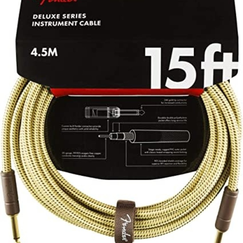 Fender Fender Pro 15' Deluxe Instrument Cable Tweed Straight/Straight