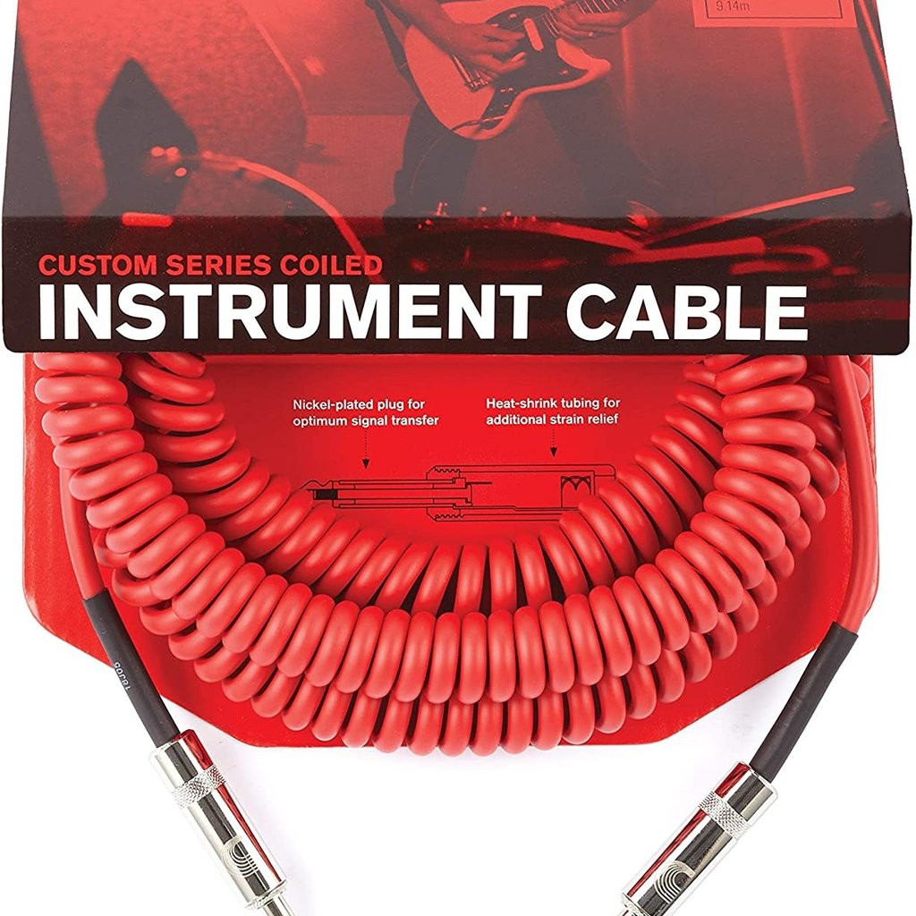 D'addario D'addario Coiled Cable Red PW-CDG-30RD