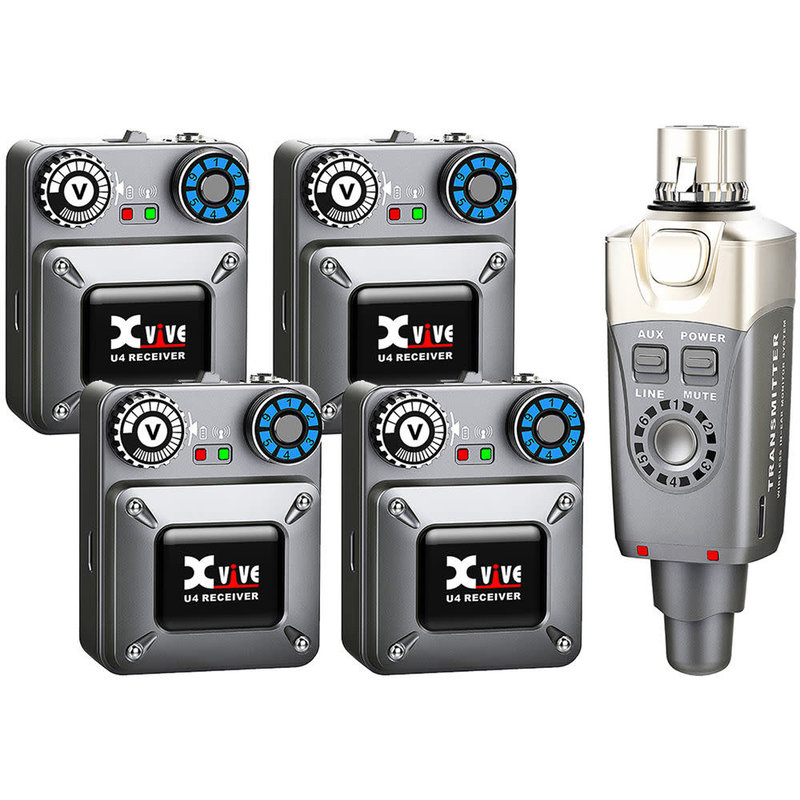 xvive Xvive U4R4 Wireless In-Ear Monitoring System Set (1 Transmitters, 4 Receivers)