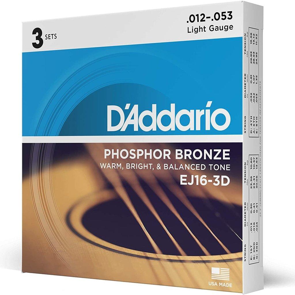 D'addario D'Addario Ej16-3D Acoustic Lt 3 pack