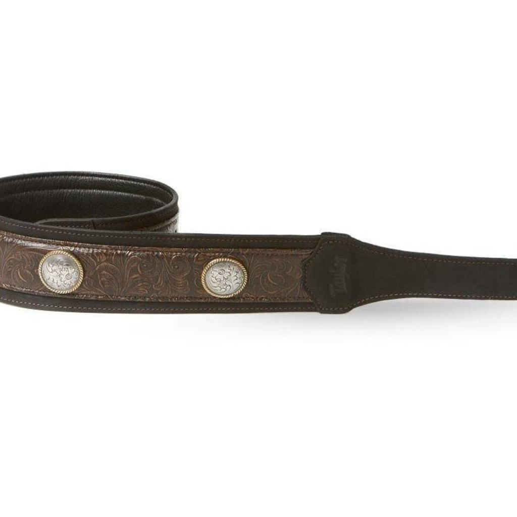 Taylor Guitars Taylor 3'' Grand Pacific Leather Guitar Strap, Nickel Conchos - Brown