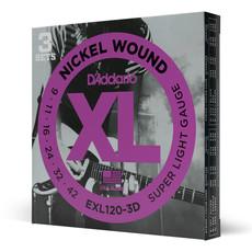 D'addario D'addario EXL120  3D - 3 Pack