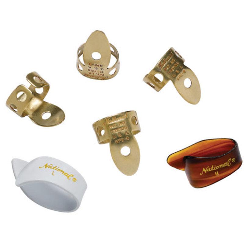 D'addario National NP2B7T8W-06 National Finger/Thumb Picks Brass - Set