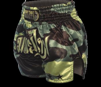 Muay Thai Addict Green Camo Single Panel Stars Muay Thai Shorts