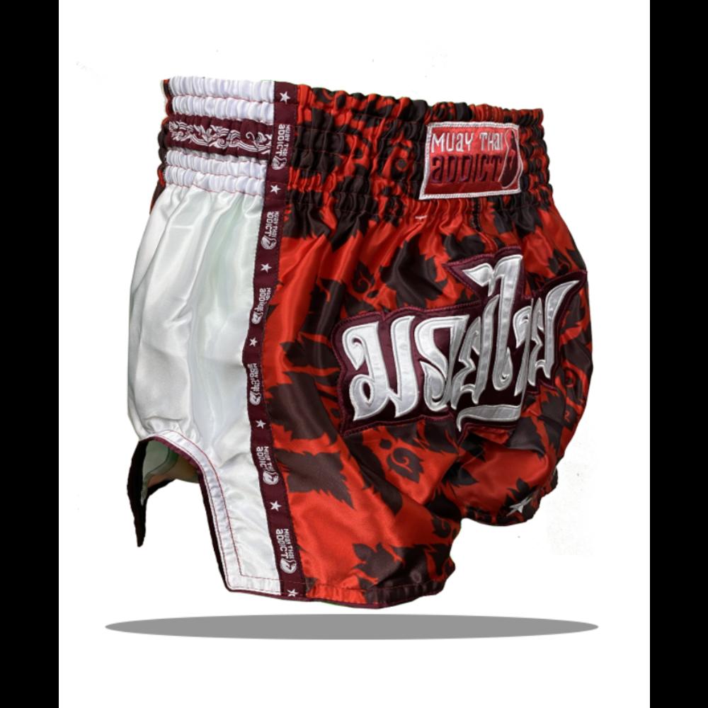 Muay Thai Addict Royal Red Floral Single Panel Muay Thai Shorts
