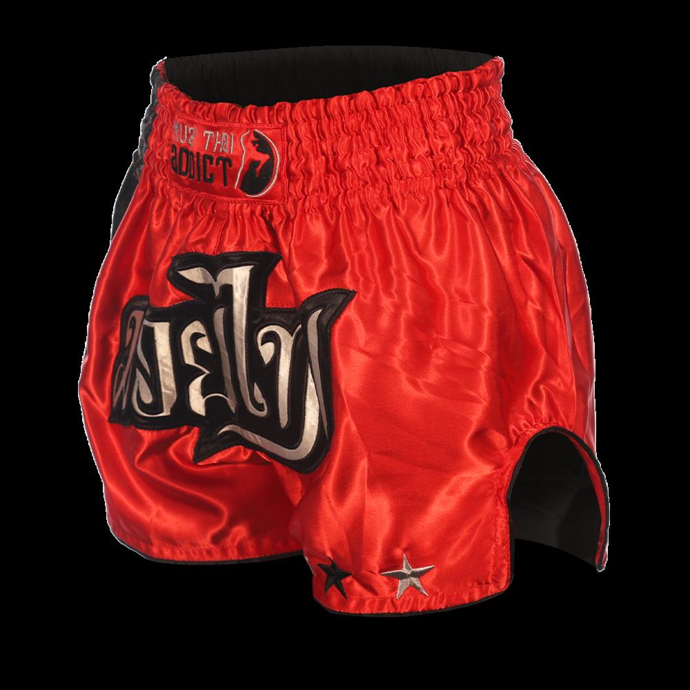 Muay Thai Addict Red and Black Single Panel Stars Muay Thai Shorts
