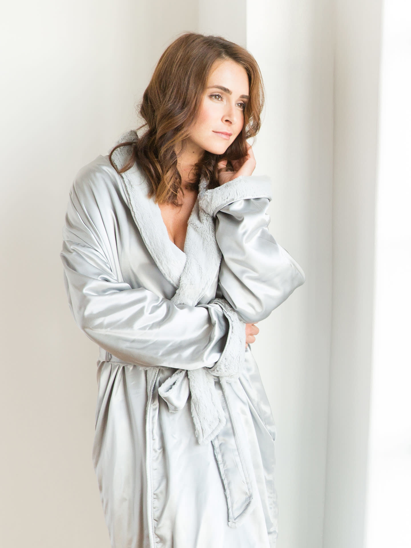 LG Adult Robe Luxe/Satin Flax/1-2