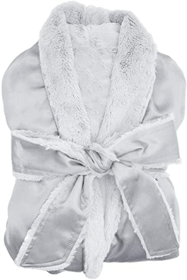 LG Adult Robe Luxe Satin in Silver Size 1-2