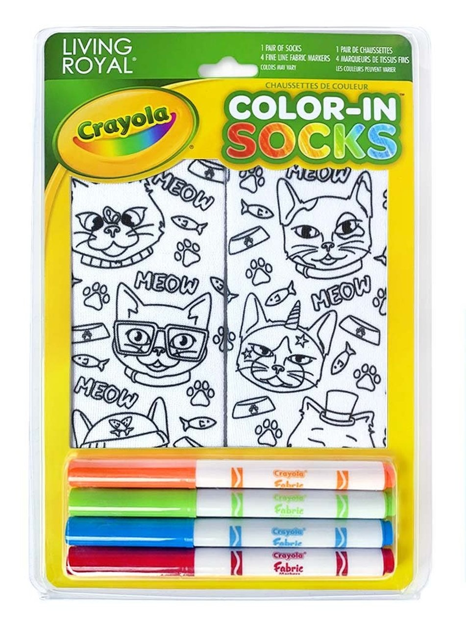 Crayola Color In Socks Cat Vibes-1