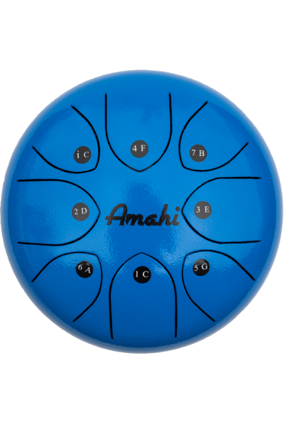 "Amahi Steel Tongue Drum 8"" Blue"