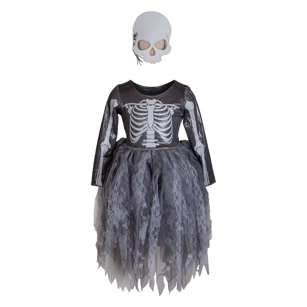 Skeleton Witch Dress & Mask  Size 3-4-2
