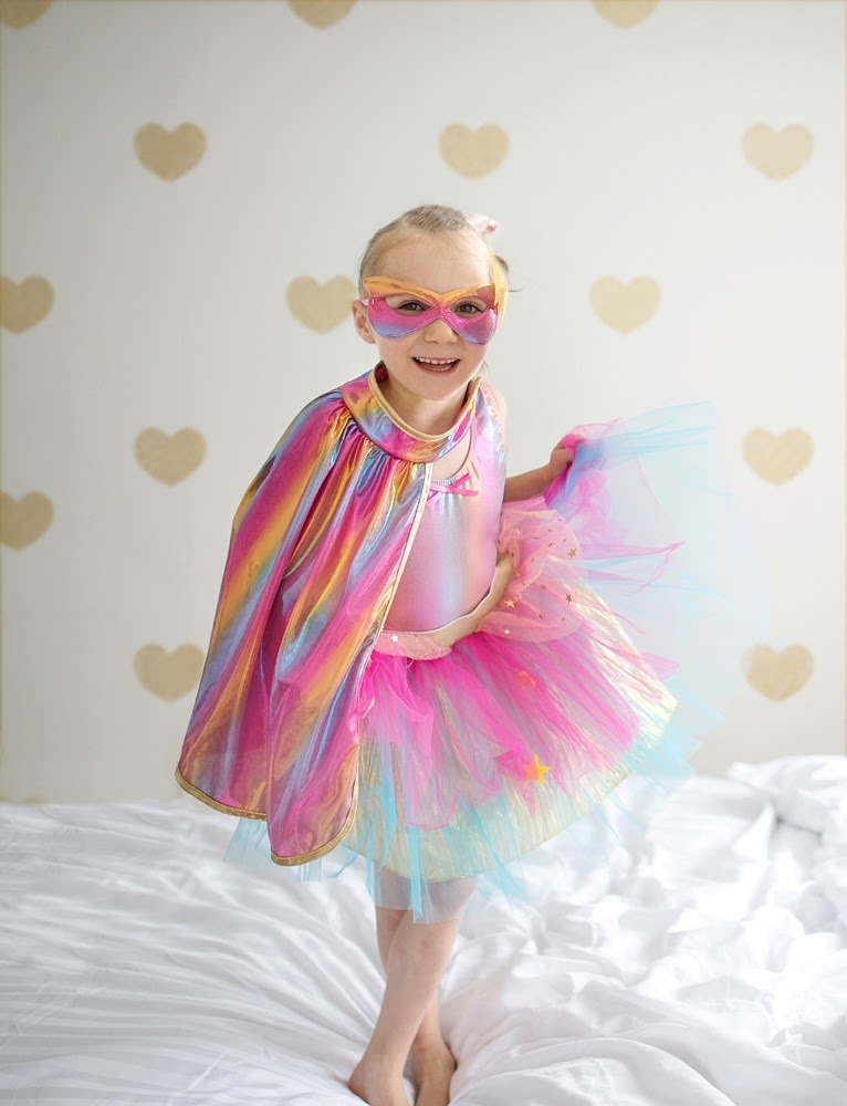 Super Duper Tutu with Cape/Mask Rainbow-1