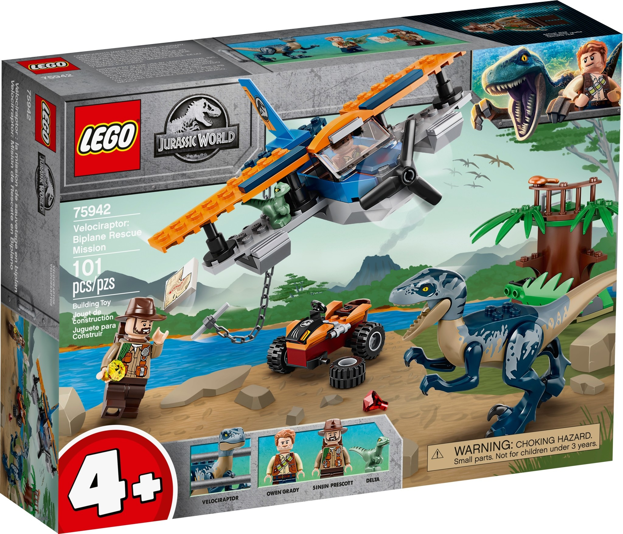 Lego Jurassic World Velociraptor Biplane Rescue Mission-1