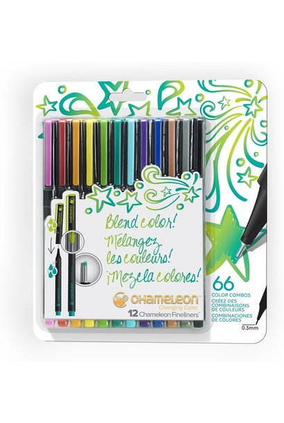 Chameleon Fineliners Bright Color Combos 12 pk