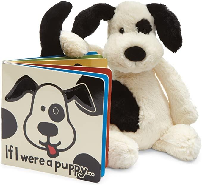 Bashful Puppy Black/Cream Med JellyCat-4