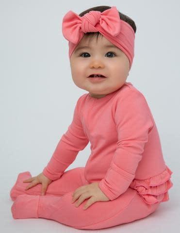 Angel Dear Basic Ruffle Back Footie Flamingo Pink-1