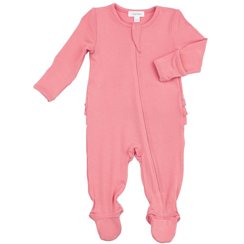Angel Dear Basic Ruffle Back Footie Flamingo Pink-3