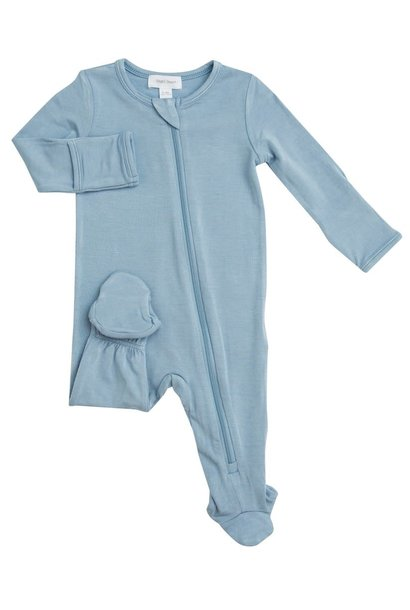 Angel Dear Basic Zipper Footie Blue