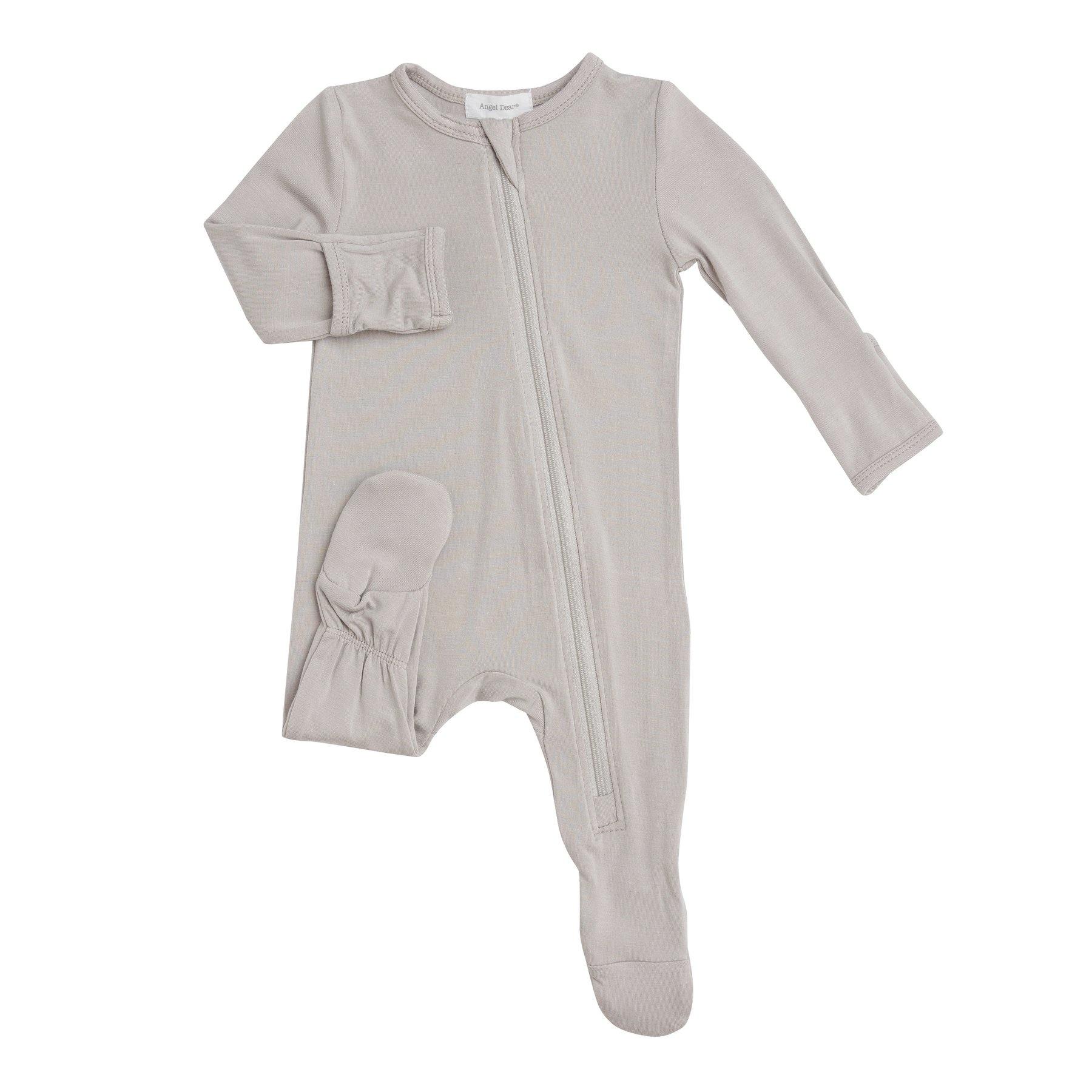 Angel Dear Basic Zipper Footie Grey-1