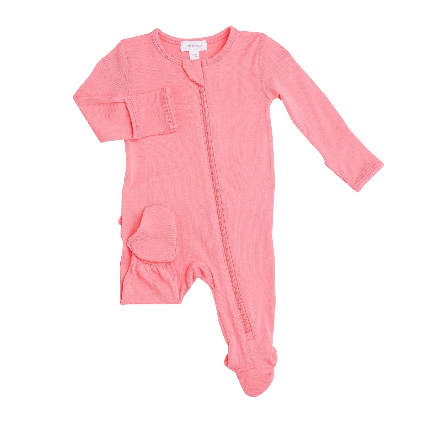 Angel Dear Basic Ruffle Back Footie Flamingo Pink-2