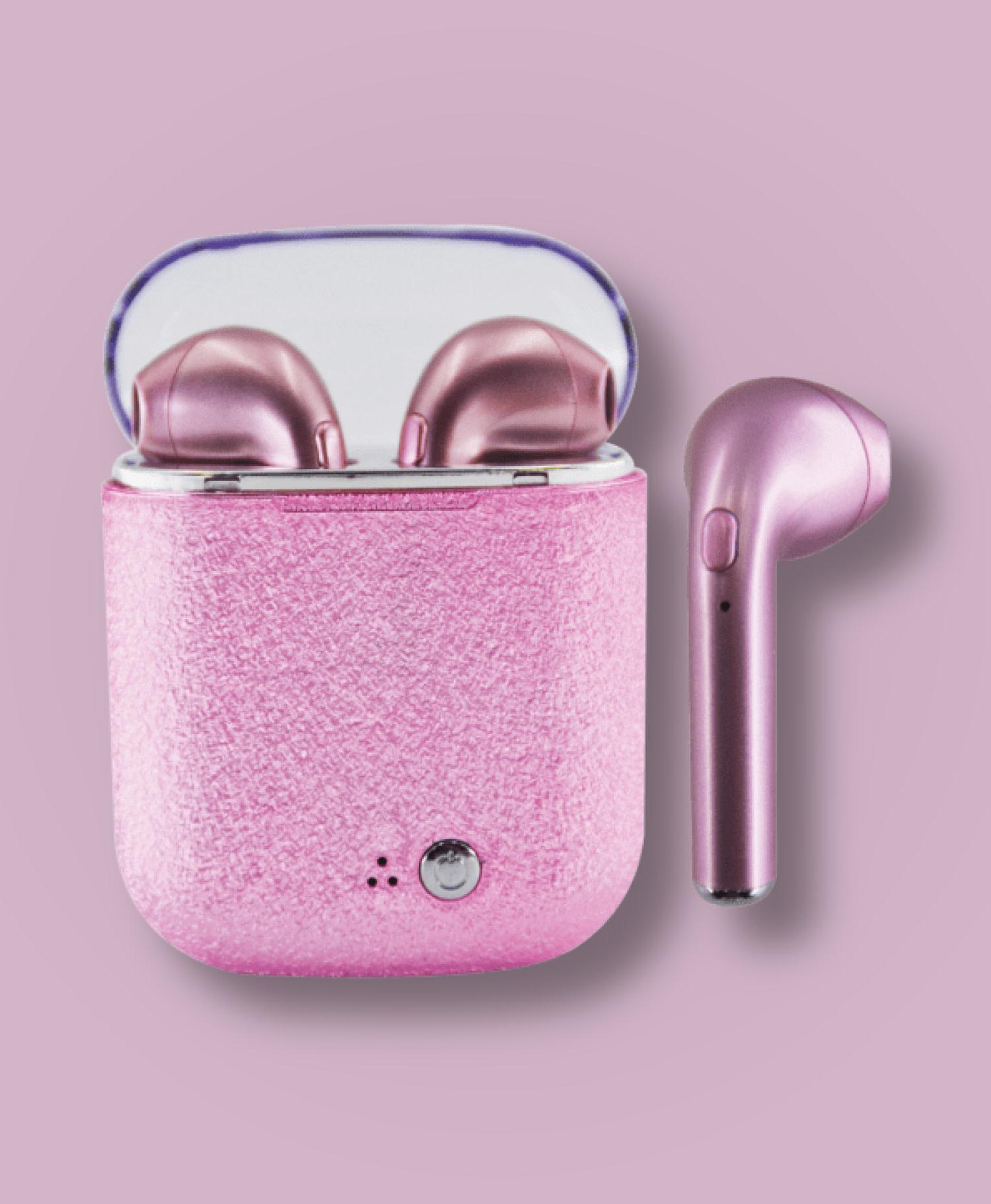 Earbuds Pink Glitter-1
