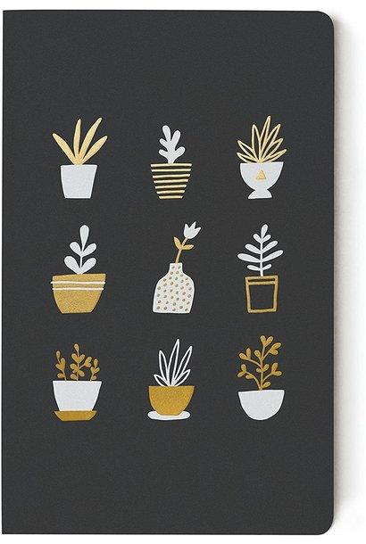 Gold Plants Black Flat  Journal Lined