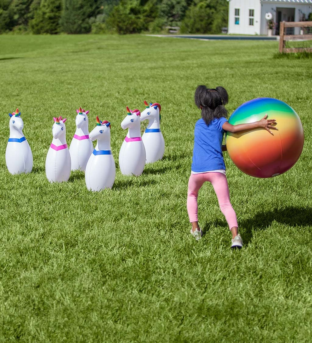 Giant Inflatable Unicorn Bowling Game-3