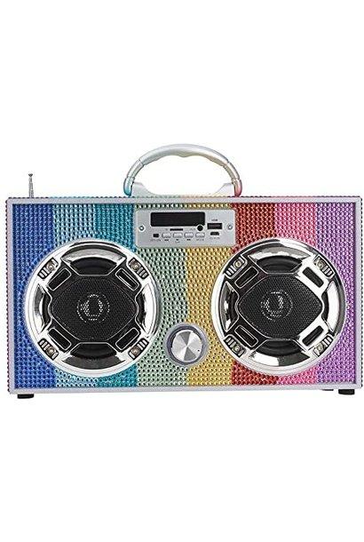 Boom Box Rainbow Bling Retro
