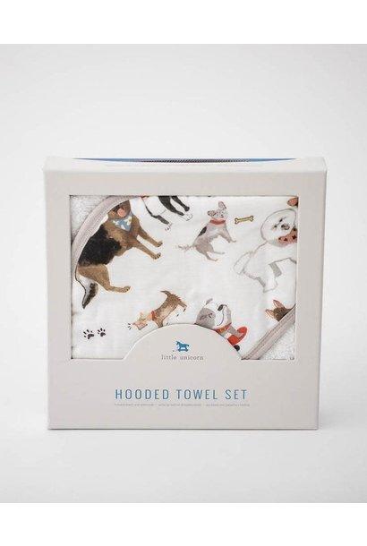Hooded Towel & Washcloth Woof