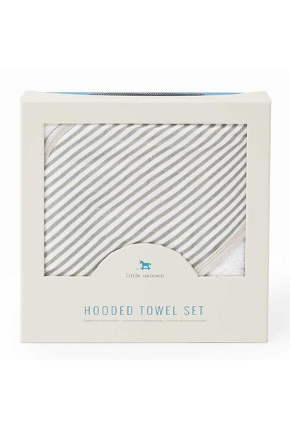 Hooded Towel & Washcloth Gray Stripe