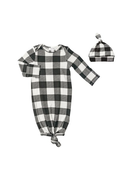 AD Knotted Gown Set Buffalo Checks 0 - 3M