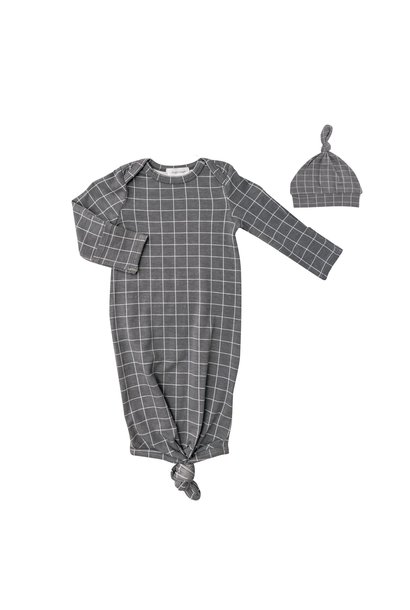 AD Knotted Gown Set Grey Grid  0 - 3M