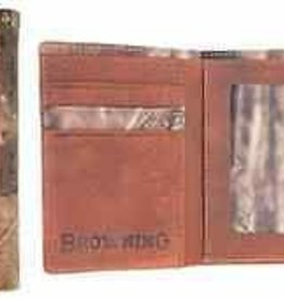 Browning Camo/ Brown Canvas Tri Fold Wallet