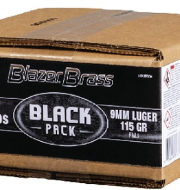 CCI 9MM 115 GR FMJ BLAZER BRASS 500 ROUND BLACK PACK