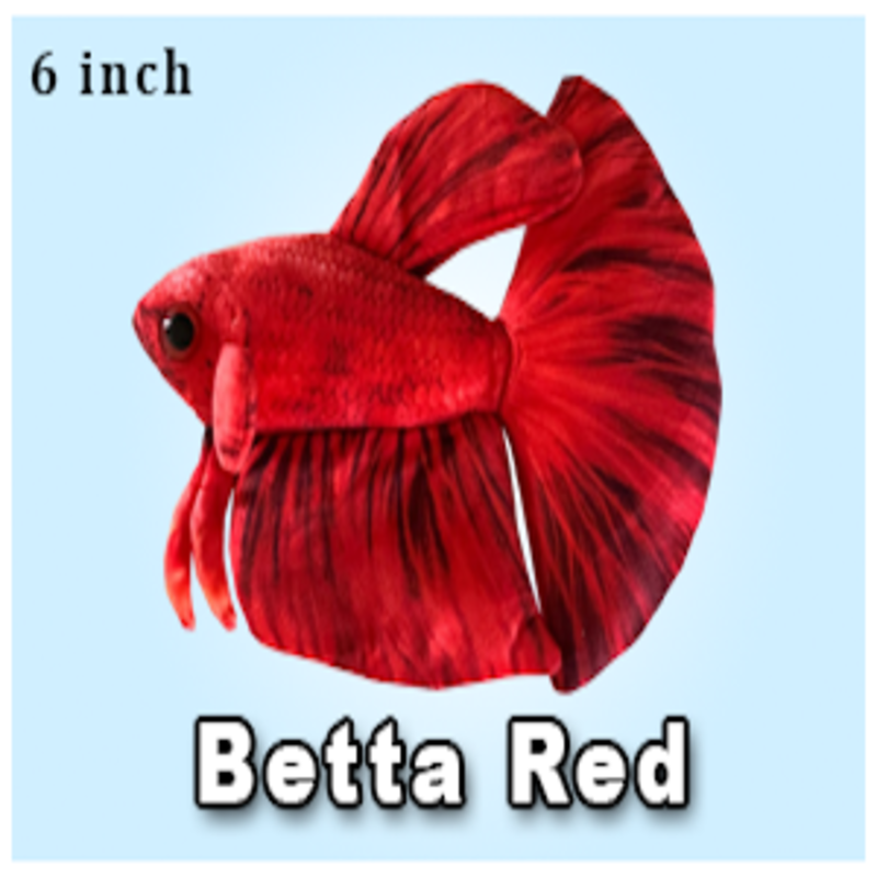 "Green Pleco 6"" Red Betta Plushie"