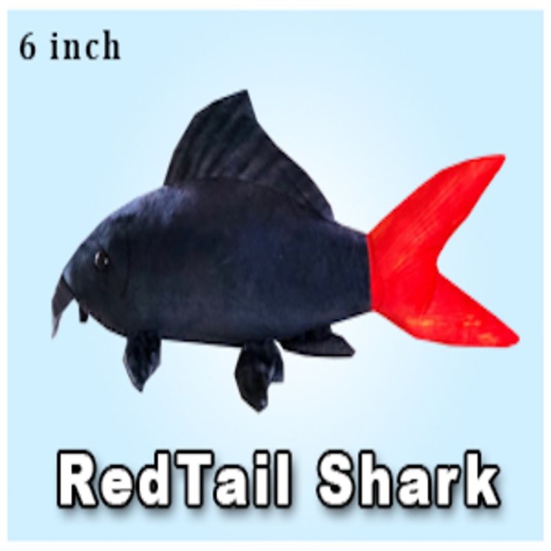 """Green Pleco 6"""" Red Tail Shark Plushie"""