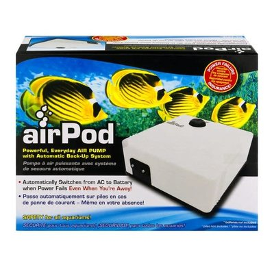 Penn-Plax Pet Products AirPod® Air Pump w/Battery Back-Up, 55 gal
