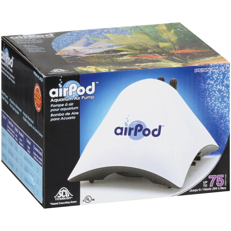 Penn-Plax Pet Products AirPod® Air Pump - Up to 75 Gallons, Dual Outlet