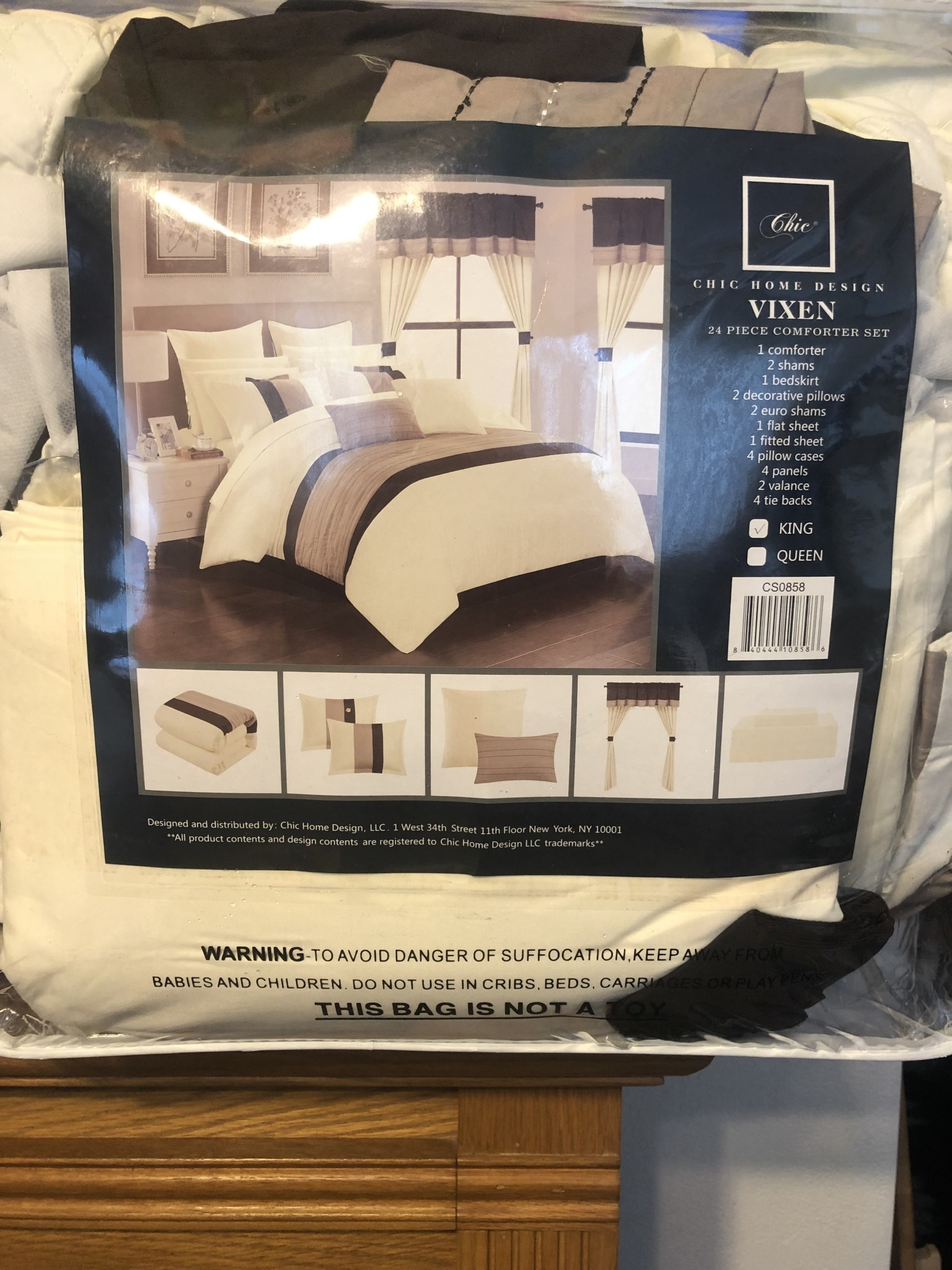 Chic New Chic Home Vixen Bedding Set 24 Piece Beige Size King D3 Surplus Outlet